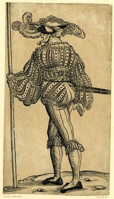 A Landsknecht seen from behind; FL figure, walking towards the left and holding a pole in his left hand. Look at his hat!