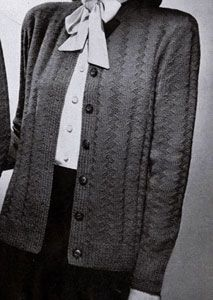 Cardigan knit pattern from Jack Frost Sweaters, Volume 52, in 1951.