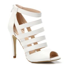 White High Heels Sandals With Stripes