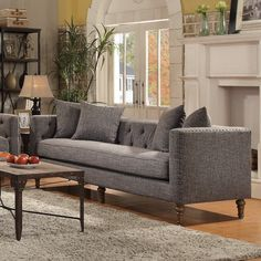 Coaster Ellery Sofa with Traditional Industrial Style  More traditional than I usually go but I think it would look nice with some of the other stuff I'm picking out.