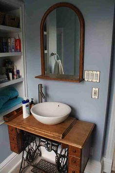 Antique Singer Sewing Machine cabinet Bathroom Vanity