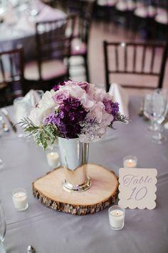 purple rustic wedding centerpiece ~  we ❤ this! moncheribridals.com
