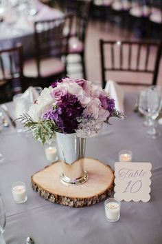purple rustic wedding centerpiece ~  we ❤ this! moncheribridals.com