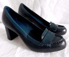 ee3db955c66 Cole Hann Nike Air Block Heel Chunky Slip on Teal Dress Shoes Womens Size 7