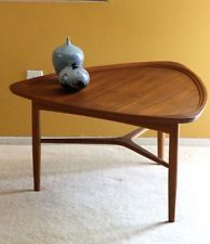 Atomic Danish Modern Teak UFO Mid Century Coffee Table - Mid century triangle coffee table