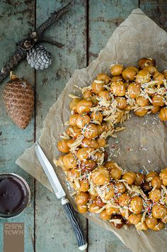 Cicerchiata - The Cicerchiata is an Italian dessert with fried balls of sweet pasta dough coated in honey and made into a wreath. | Chew Town Food Blog