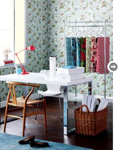 Cole & Sons hummingbirds wallpaper family room