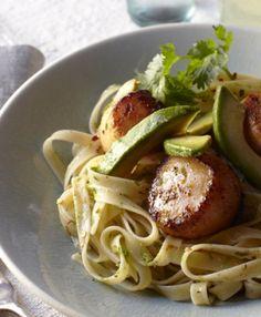 Chef Cat Cora's Spice Rubbed Scallops and Avocado Pasta recipe.