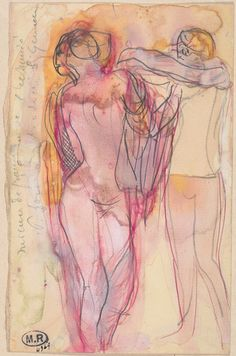 Auguste Rodin  Two Women: One helping the Other to put on a Garment - Drawings - Collection | Musée Rodin