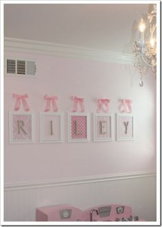 Framed wooden letters. Cute, I have some letters but haven't been able to decide how I want to do it.