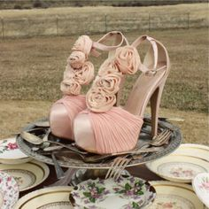 Bridal  Shoes cute with a pink scape for your wedding!