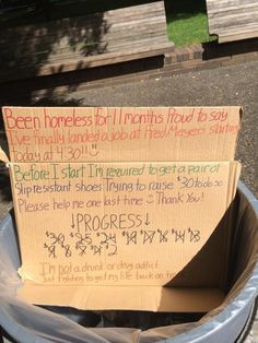 Found in the trash. Homeless person gets a job, needs shoes, and the public helps!