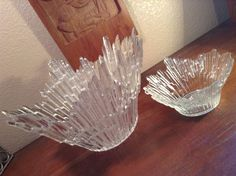Mid Century RARE Glass Brutalist Large Bowl Centerpiece Finland 2pc | eBay