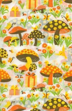 Vintage Mushroom Tissue Paper Sheets from the Vintage Wrapping Paper, Vintage Paper, Vintage Art, Retro Art, Etsy Vintage, Vintage Gifts, Fabric Patterns, Print Patterns, Vintage Fabrics