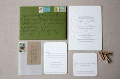 I am a sucker for: 1) this green + brown on wedding invites! 2) blind embossing 3) hand lettering