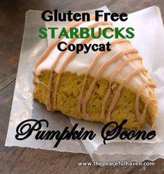 Gluten Free Starbucks Copycat Pumpkin Scones - The Peaceful Haven - Gluten Free Starbucks Copycat Pumpkin Scone Recipe Gluten Free Star - Gluten Free Pumpkin Cookies, Gluten Free Scones, Gluten Free Sweets, Gluten Free Cooking, Dairy Free Recipes, Vegan Gluten Free, Brownie Desserts, Mini Desserts, Coconut Dessert