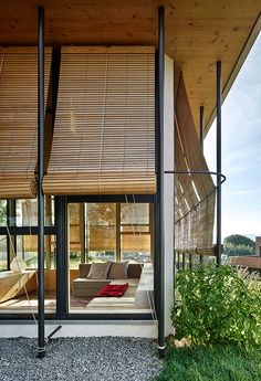 Inserted into their delightful garden in a small town of Catalonia, the House and Yoga Center is an introverted and sustainable house and workspace Outdoor Spaces, Outdoor Living, Outdoor Decor, Architecture Details, Modern Architecture, Casa Patio, Outdoor Blinds, Covered Pergola, Curtain Designs