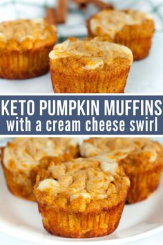 Moist, delicious, and incredibly flavorful you'll love every bite of these keto pumpkin muffins with a mouthwatering cream cheese filling. Keto Desserts, Keto Friendly Desserts, Keto Snacks, Dessert Recipes, Holiday Desserts, Cheese Snacks, Dinner Recipes, Breakfast Low Carb, Breakfast Recipes