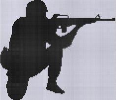 Soldier Silhouette Cross Stitch Pattern
