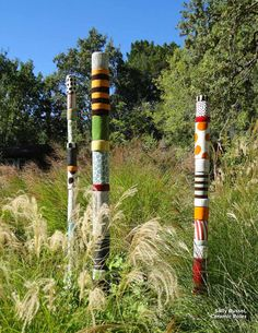 Sally Russel, Ceramic Poles / on The Artful Gardener
