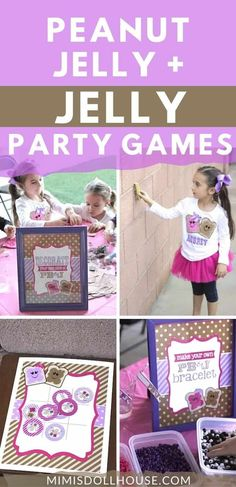 Keep the kids entertained with some peanut butter and jelly themed games! If you are throwing a PB&J Party, Games are definitely something you want to keep in line with your theme. Today I'm sharing the PB&J Party Activities and Games from my little Emma's PB&J Party. Be sure to check out The PB&J Party Details! #party #partyideas #parties #partygames #peanutbutter #pbj #twins #twinparties Party Activities, Party Games, Activities For Kids, J Games, Make Your Own Bracelet, Party Treats, Party Looks, White Beads, Some Fun