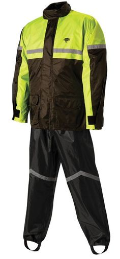 Nelson-Rigg Stormrider: Soft Polyester outer shell with PVC backing.  Jacket has full-length zipper with Velcro storm flap.