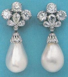 The Marie Mancini pearl and diamond ear pendants, incorporating two fine drop-shaped pearls weighing approximately 200 grains each, and with a historic provenance of over 400 years, appeared at a public auction at Christie's in New York, in October 1979, and was sold for US$ 253,000.
