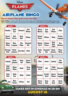 Disney Planes - bingo to play while waiting in airport