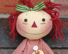 Primitive Raggedy Ann and Andy doll Pattern Rag by CindysHomespun