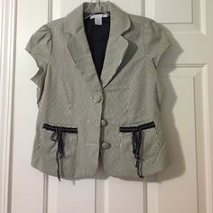 Two Work Blazers Perfect for summer job or internship. One navy and white stripe blazer Forever 21 Size M. Looks like a boutique buy and very well made. One black and white Charlotte Russe blazer with ribbons on front pockets. Also very well made. Both EUC. Both used by me when I was just starting as a lawyer. Jackets & Coats Blazers