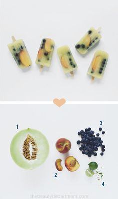 "Refreshing ""Beauty Pops"" you can make at home - jammed full of antioxidants! Ingredients include: Honeydew melon, Peaches, Blueberries, and Limes - via The Beauty Department: Your Daily Dose of Pretty."