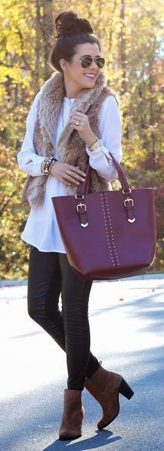 White tunic | Faux leather leggings