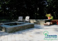 Patio area with a creative square outdoor fire pit idea from Farmside Landscape & Design!