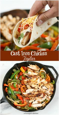 Cast Iron Chicken Fajitas are a quick and easy meal with marinated boneless chic. - Cast Iron Chicken Fajitas are a quick and easy meal with marinated boneless chicken breasts, sautee - Cast Iron Skillet Cooking, Iron Skillet Recipes, Cast Iron Recipes, Cast Iron Chicken Recipes, Iron In Chicken, Chicken In Skillet Recipes, Bell Pepper Chicken Recipes, Cooking With Cast Iron, Chicken Fahitas