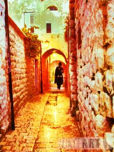 Hassid in the old city of Jerusalem   Never forget Jerusalem. Take an art piece of Jerusalem. A painting of Dan Groover