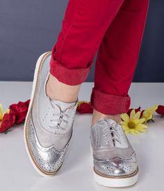 Pantofi fara toc argintii cu siret Sneakers, Casual, Shoes, Fashion, Tennis, Moda, Slippers, Zapatos, Shoes Outlet