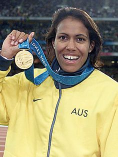 Cathy Freeman with her gold medal after winning the 400m at the 2000 Sydney Olympics.