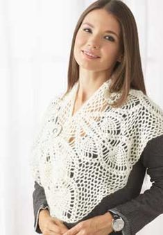 Wide openwork scarf crocheted in Patons Lace ~ free patterns