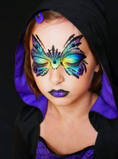 More than 40 of the best designs for tattoos and face painting - Page 36 of 43 -. - More than 40 of the best designs for tattoos and face painting – Page 36 of 43 – BEAUTIFUL LIFE - Halloween Makeup For Kids, Kids Makeup, Halloween Looks, Halloween 10, Halloween Facepaint Kids, Kids Halloween Face Paint, Christmas Face Painting, Halloween Design, Girl Face Painting