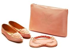 Charlotte Olympia Cat Nap Silk-Satin Slippers and Eye Mask in Blush