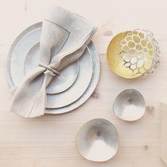 handmade textile & tin plates, tin bouls.  Nousaku