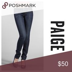 Paige Blue Heights skinny jeans Stylish day or night, these skinnies will quickly become one of your go to jeans! Dark wash is super flattering. Featuring four way stretch so you can be comfy and chic. Size 26 which is a 2. ❌NO TRADES❌ Paige Jeans Jeans Skinny