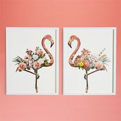 Flamingo Floral Set of 2 Paper Collage Wall Art - Paper/PS/Glass Wall Collage, Wall Art, Framed Wall, Two's Company, Hospitality Design, Flamingo, Place Card Holders, Wall Decor, House Styles