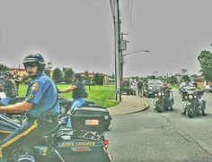 Delaware State Police motorcycle during an escort into Dover during the summer.   #doverde #TravelingWall #DSP #motorcyclepolice