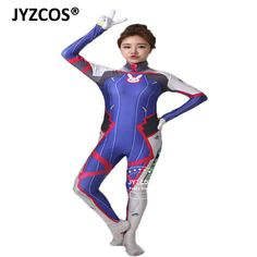 Jyzcos Adult Lady Overwatch D Va Costume Hana Games Cosplay Costumes Halloween Costume Anime Clothes Zentai Bodysuit For Women