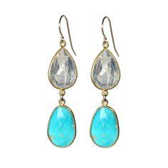 Gold Rainbow Moonstone & Turquoise Earring