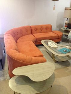 1960s Midcentury Modern ORANGE sectional sofa curved MAD MEN Persimmon