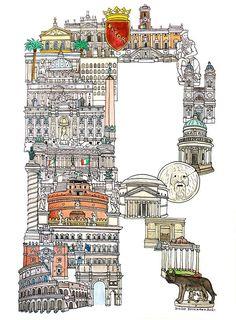 Letter R for Rome  - ABC illustration series of European cities by Japanese illustrator Hugo Yoshikawa