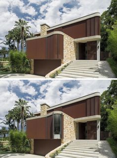 Adjustable timber screens can be opened to allow light into this modern wood and sandstone house Sandstone Cladding, Wood Cladding, Design Your Dream House, Modern House Design, Modern Houses, Modern Exterior, Exterior Design, Modern Family House, Bungalow Floor Plans