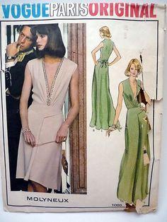 Rare VTG Vogue Paris Original Pattern 1066 Molyneux Dress Gown Plunge SZ 16 Knit | eBay